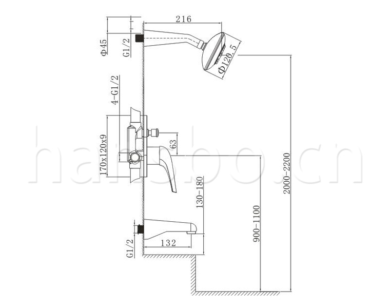 ad5902-详情展示 ad5902 产品类型 : 入墙式沐浴/浴缸龙头 产品系列